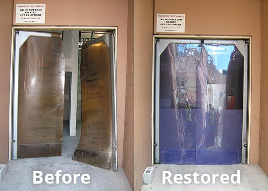 replacement-PVC panel-before-after for swingdoor