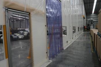 Flexwall Partitioning with Stripdoor and swingdoor