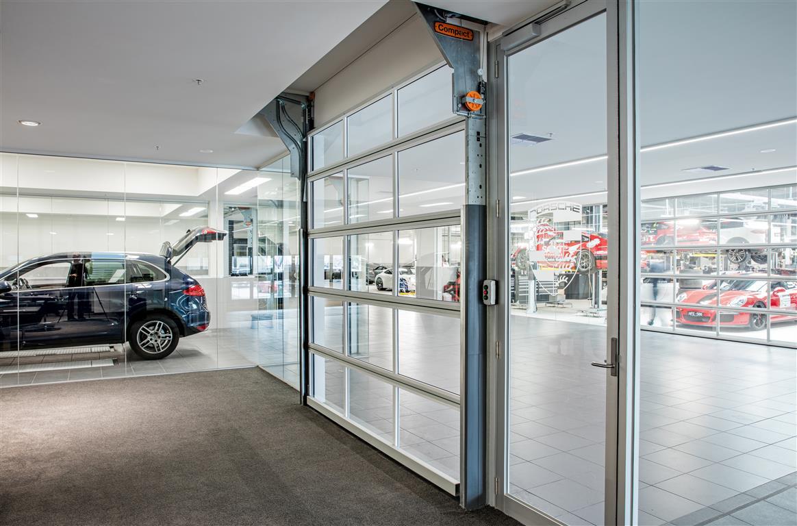 Compact Sectional doors at Porsche dealership