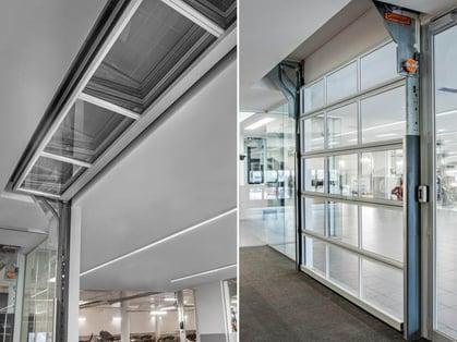 Compact Doors_recessed ceiling glass overhead door